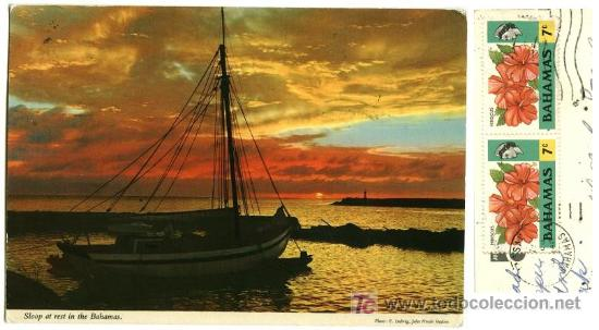 Postales: BAHAMAS BARCO YATE AL ATARDECER SELLOS POSTAL USADA - Foto 1 - 3121610