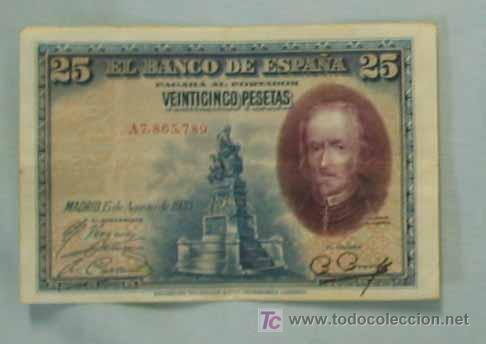 BILLETE VEINTICINCO PESETAS. 15 de agosto de 1928 (Numismática - Notafilia - Billetes Españoles)