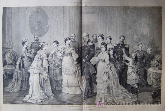CASAS REINANTES EN EUROPA EN 1877 - LA FAMILIA IMPERIAL DE ALEMANIA.- (Arte - Grabados - Modernos siglo XIX)