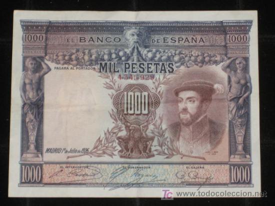 Billete de 1000 pesetas, julio de 1925. (Numismática - Notafilia - Billetes Españoles)