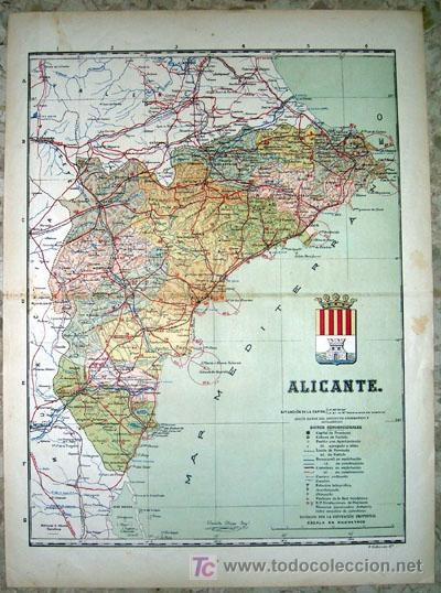 MAPA DE LA PROVINCIA DE ALICANTE (Principios 1900) (Coleccionismo - Mapas - Mapas actuales (desde siglo XIX))