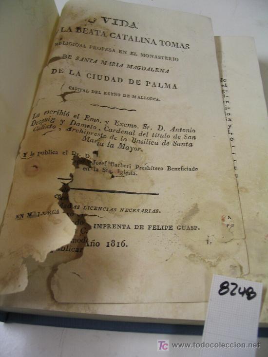 Libros antiguos: VIDA DE LA BEATA CATALINA TOMASANTONIO DESPUIG Y DAMETO1816 - Foto 4 - 21913071
