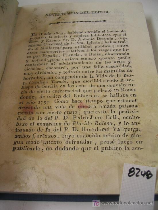 Libros antiguos: VIDA DE LA BEATA CATALINA TOMASANTONIO DESPUIG Y DAMETO1816 - Foto 3 - 21913071