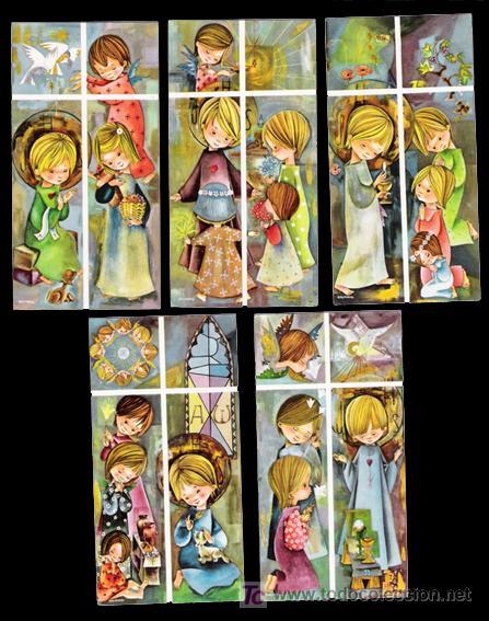 Serie completa de recordatorios religiosos, comunión. Ilustración Salmons - Siros (Coleccionismo - Otros )