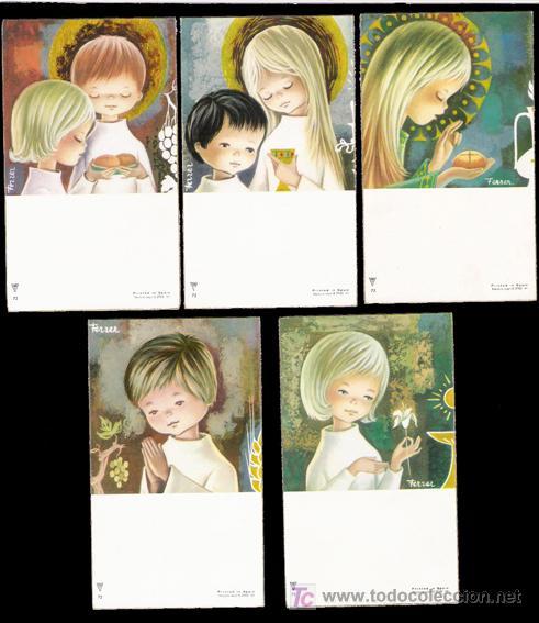 Serie completa de recordatorios religiosos, comunión. Ilustrados por Ferrer - 72 (Postales - Religiosas y Recordatorios)