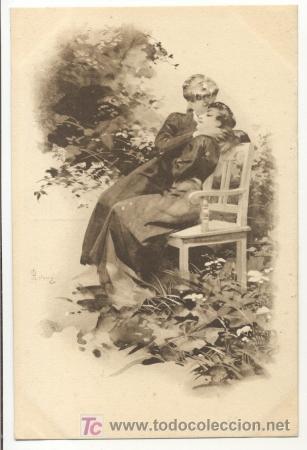 Postales: Bonita postal: Mujeres abrazadas y besandose en un parque - Foto 1 - 4531961